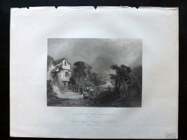 After Marshall 1834 Antique Print. A Mill on the Llanberris, Side of Snowdon
